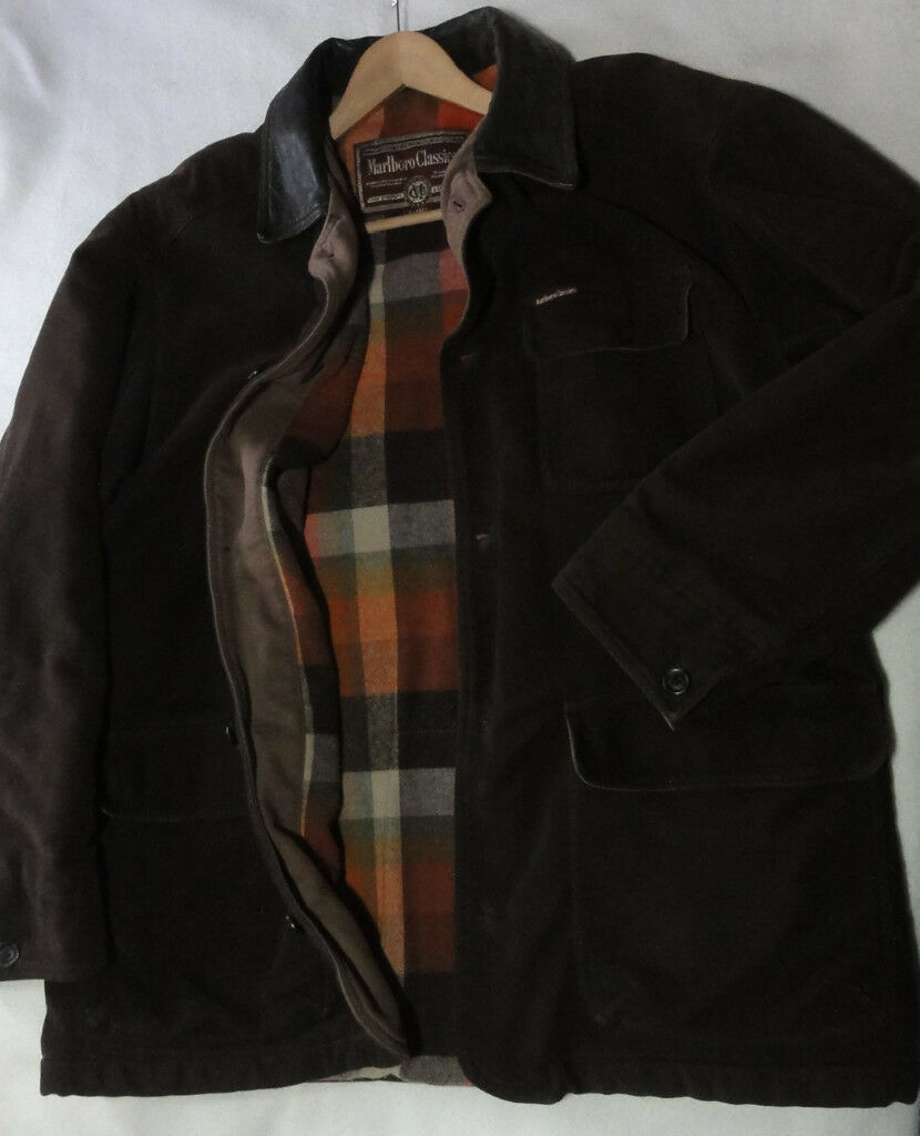 8191b18c4c55 Genuine MARLBORO CLASSICS Mens Winter Blanket Jacket Coat Moleskin Leather  Trim Size XL Christmas