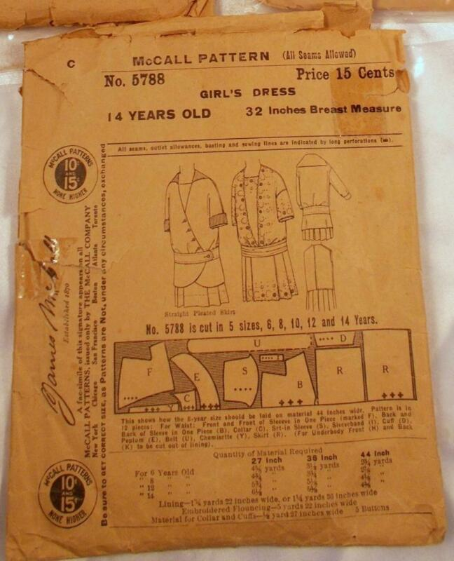 "Antique 1908 McCall Sewing Pattern 5788 Girls Dress 14 Yrs 32""Bust"