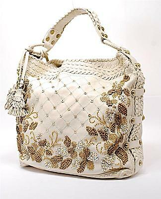 """ISABELLA FIORE Putty Leather Bag w/Shell + Wood Beading - GORGEOUS - 15"""" X 16"""""""
