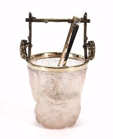 1920's frosted glass and electro plate mounted ice bucket, with bear decoration to the handles