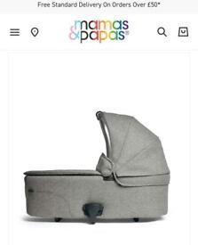 Mamas & Papas Ocarro Carrycot - Woven Grey As New