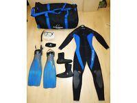 DIVING GEAR: 5mm wetsuit (L)+boots+mask/snorkel+fins+duffel bag