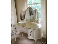 Shabby Chic Dressing Table & Mirror (Antique White)