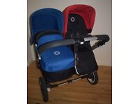 Bugaboo Donkey Duo V1.1 with Blue Hood/Apron & Red Hood - Very Good Condition