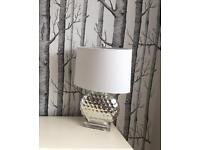 Silver Lamp and White Lampshade