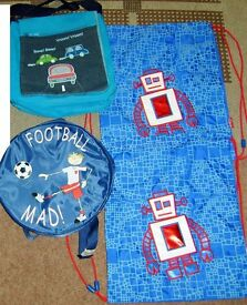 robot bags never used (clarks) £2 each, football mad and vroom £1 each