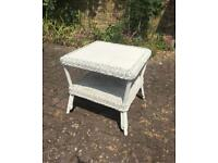 White wicker and tile conservatory style coffee table