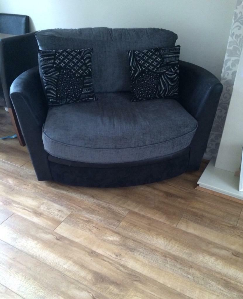 Black and grey fabric scatter back corner sofa and cuddle for Black and grey sofa