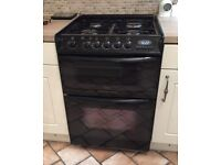 Cannon Harmony Duel Fuel 60cm Oven Cooker. Black. Fan assisted electric, gas oven and gas grill hob