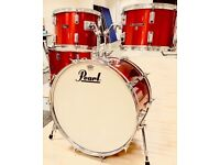 1970's Vintage pearl fibreglass drum kit in red. Collectors condition