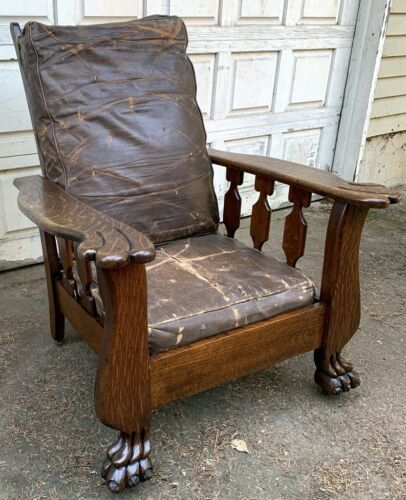 Antique Oak Morris Chair Original Leather Cushions