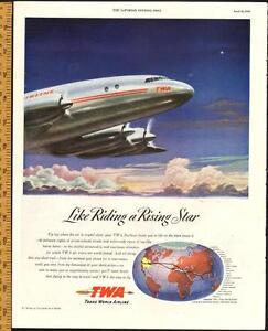 1947 large, authentic full-page magazine ad for TWA