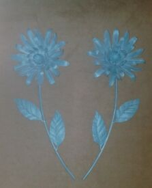 Two large teal metal wall art flowers Next