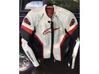 White leather motorbike jacket. Alpinestars