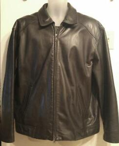 Oakville 44 DANIER CANADA Mens Large Black Leather Jacket Coat L Stocky Fall Winter LINER Loose fit Reg slv Wide HEAVY