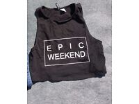 Ladies black crop top H&M epic weekend size Medium very good condition