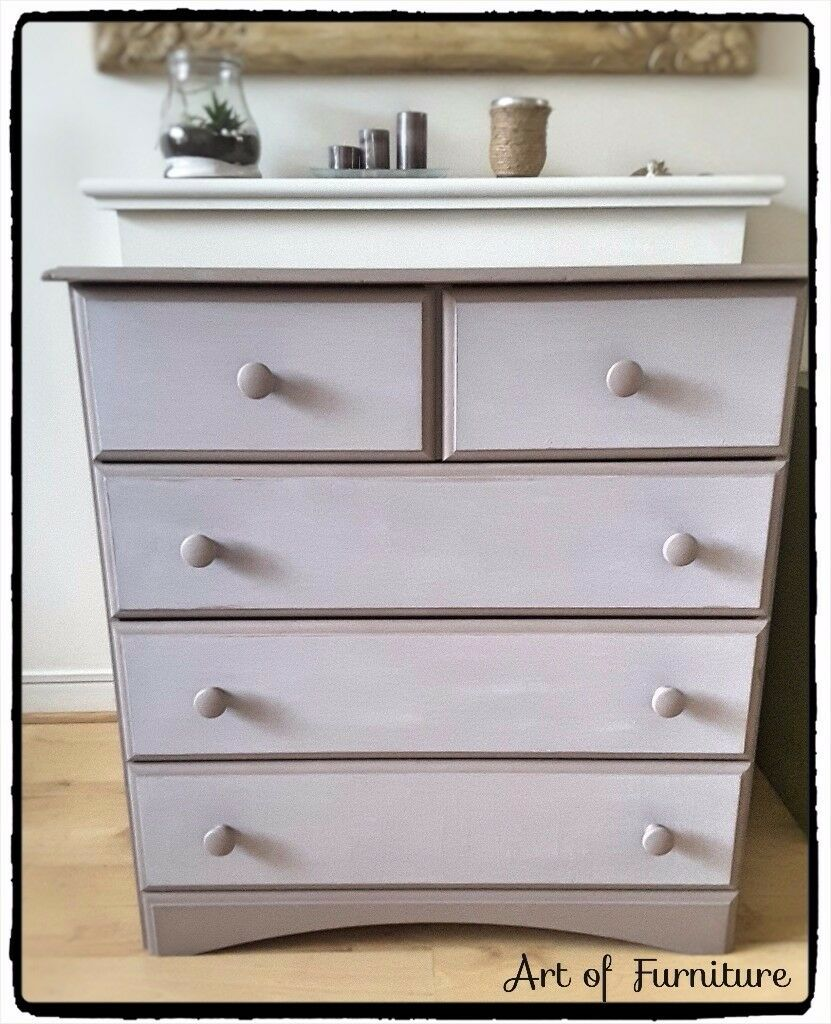 Pine chest of 2 Over 3 Drawers Hand Painted in ANNIE SLOAN Coco & Paloma Chalk Paint