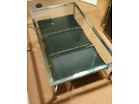 Plate Glass Top & Metal Coffee Table