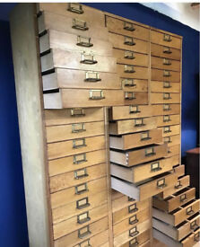 Tall oak drawers.3 banks of 18.Haberdashery/apothecary/shop/collectors