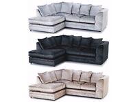 ❋★❋GUARANTEED CHEAPEST PRICE ❋★❋ DYLAN CRUSH VELVET CORNER / 3+2 SOFA SET -AVAILABLE SILVER & BLACK