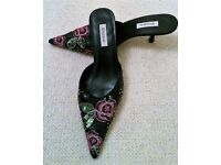 NEW DUNE Black Red Green Embellished Beaded Sequin Satin Kitten Heel Mules Shoes Size: 41 PROM Ball