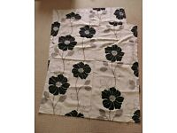 "Sandown & Bourne Cream with Black Floral Print Curtains 53.5"" Drop Bedroom Lounge Living Dining Room"