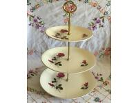 LARGE 3 TIER VINTAGE CHINA PINK ROSE CAKE PLATE STAND