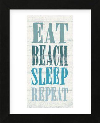FRAMED ART Eat, Beach, Sleep Repeat Sparx Studio Coastal Beach House Frame 13x16