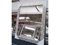 60cm Tall Large SHABBY CHIC Mosaic Effect Mirror Silver Glitter Dressing Table Wall Mirror