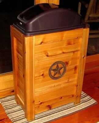 NEW RUSTIC WOOD KITCHEN TRASH BIN GARBAGE CAN 30 GAL CABIN WESTERN DECOR