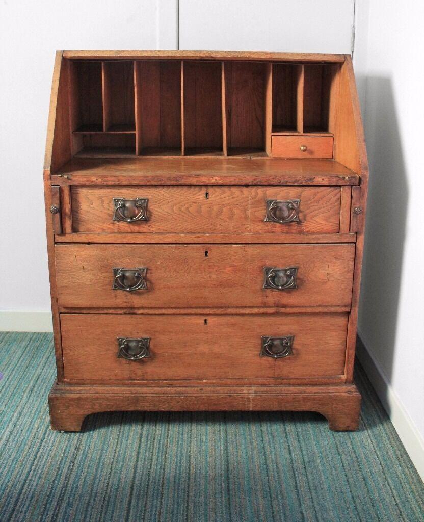 Arts and crafts bureau - Antique Arts Crafts Oak Bureau Chest Of Drawers Writing Desk Brass Handles