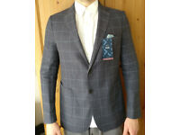 Moss Bros Mens Tailored Fit Jacket Grey/Blue 40L New with Tags