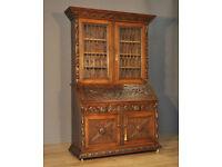 Very Large Antique Green Man Carved Oak Lead Glazed Bureau Bookcase Cabinet