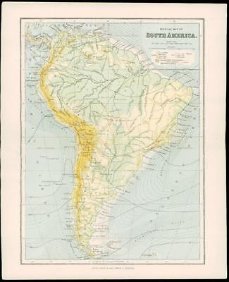 1900 Original Antique Colour Map of SOUTH AMERICA Falkland Islands Tierra (23)
