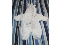 Three Girls 0-3 months Winter all-in-one snowsuits/pram suits –item 21