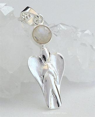 Sterling Silver ANGEL Necklace Rainbow Moonstone healing Crystal Gemstone Love