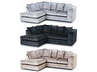 EXPRESS DELIVERY UK | NEW DYLAN GOLD CRUSHED VELVET CORNER SOFA | 1 YEAR WARRANTY | SPRING BASE