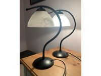 2 frosted glass and metal lamps