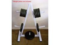 Standard weight plate tree storage rack