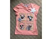 Girls Dog T-shirt - 7-8 Years BNWT (Debenhams) Pug/Dalmatian etc
