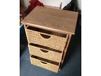 Wicker 3 Drawer Unit