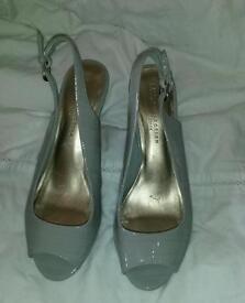 Grey peep toe shoes