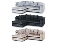 【❋💖❋ GENUINE AND NEW ❋💖❋ 】DYLAN CRUSHED VELVET FABRIC LEFT RIGHT CORNER SOFA - FOOTSTOOL OPTION