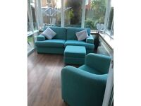 TEAL DFS 3 SEAT SOFA, CHAIR AND STORAGE FOOTSTOOL