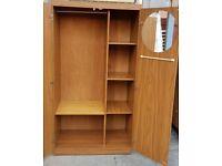 double wardrobe, side shelving. hanging rail. left-side shelf removable/ adjustable. Good condition