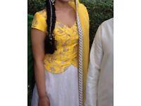 Yellow Mehndi Lengha Choli for sale