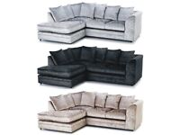 SAME DAY DELIVERY - DYLAN CRUSHED VELVET SILVER L/HAND OR R/HAND CORNER SOFA AND 3+2 SOFA SUITE
