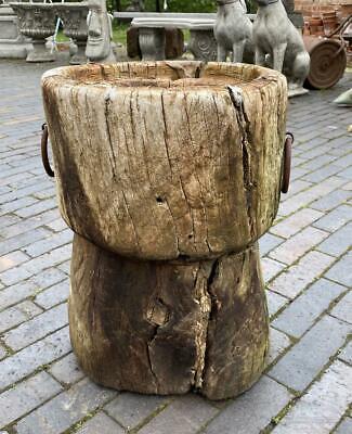 Vintage Garden Urn Planter - Old Tree Root Wood - Natural - Unusual