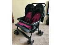 Joie Aire Double Stroller / Double Pushchair - Blue & Pink