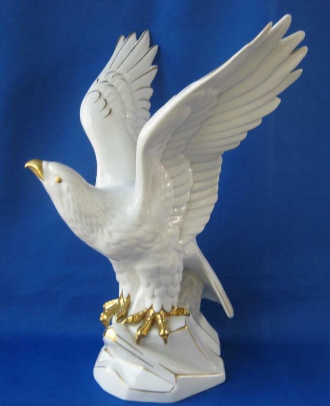 Gerold Porcelain Bavaria Eagle Statue Germany White with Gold Impressive Large